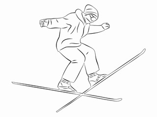 skier man, vector sketch