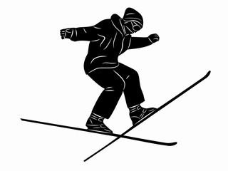skier man, vector sketch