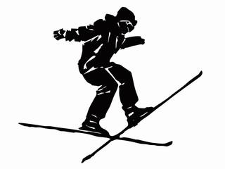 skier man, grunge vector sketch