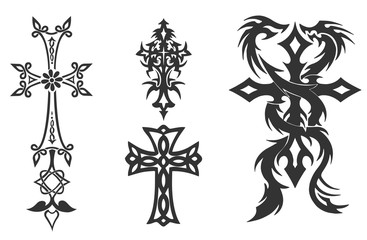 4 Vintage Cross Vector