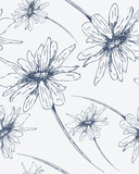 Seamless pattern with hand drawn flowers.