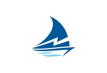 boat yacht abstract vector logo