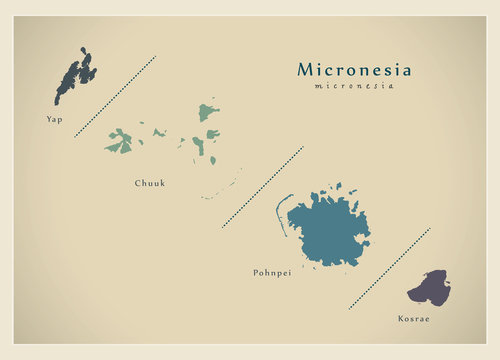 Modern Map - Micronesia colored details FM