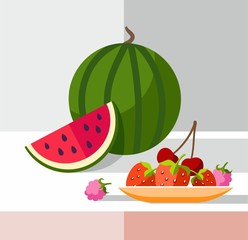 Berries, coloured illustrations.