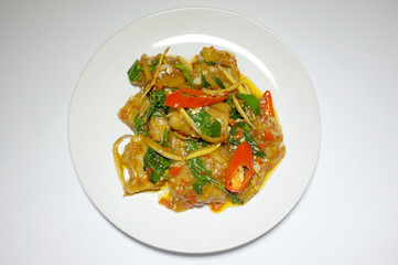 Stir fried spicy fish with mixed herbs, Thai food
