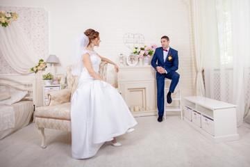 Interior wedding bride and groom