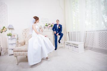 Interior bride and groom