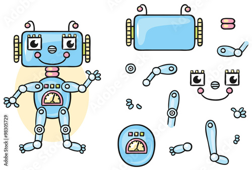 robot body parts for kids to put together stock image and royalty