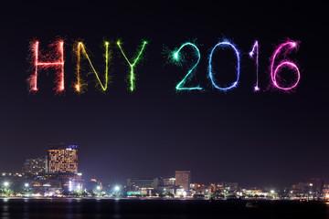 2016 Happy New Year Fireworks celebrating over Pattaya beach at