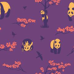 Seamless pattern of sakura tree and panda.