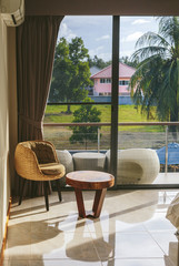 Luxury Room Interior with Big Window and tropical view