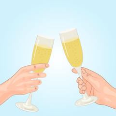 Toast, champagne, human hand. Festive background. Isolated vector background