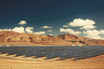 Solar power station in mountains. Nature ecology  energy
