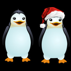 Two fun penguin in the Santa hat and without it