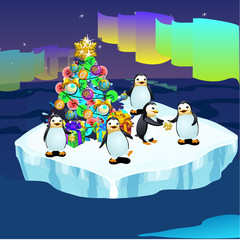 Penguins at the North pole swimming in ice with a Christmas tree, greeting card