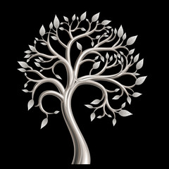 Tree bathed in silver