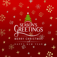 Hand sketched Season's Greetings logotype, badge and icon typogr
