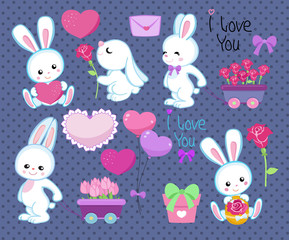 Collection of cute cartoon rabbits spring with gifts, hearts and flowers Isolated on a polka dot background.Vector illustration
