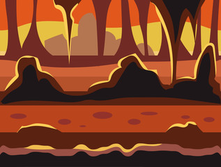 Seamless cartoon nature landscape, unending background with soil, trees, mountains and cloudy sky layers vector