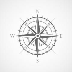 Wind rose compass flat vector symbol