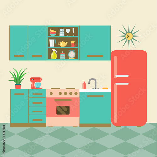 "Retro Kitchen Illustration: ""flat Retro Kitchen With Checkered Floor. Vector"