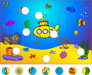 Underwater world and submarine: complete the puzzle and find the