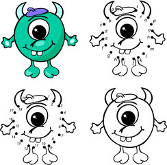 Cartoon horned alien. Vector illustration. Coloring and dot to d