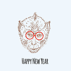 Chimpanzee monkey Hipster with blue glasses Merry Christmas and Happy New Year vector illustration for placard design, posters, fashion print and textile