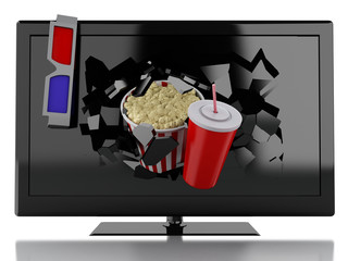 3d Popcorn, drink and tv. Cinema concept