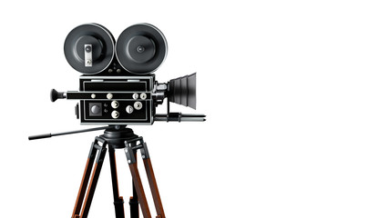 Vintage movie camera on tripod