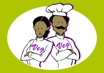 Couple of Vegan or Vegetarian Chef