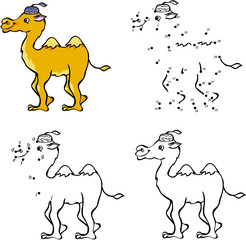 Cartoon camel. Vector illustration. Coloring and dot to dot game