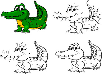 Cartoon crocodile. Vector illustration. Coloring and dot to dot