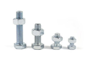 Metal Bolts And Nuts Isolated On White Background