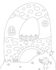 A small house in the shape of letter A. Coloring book for kids a