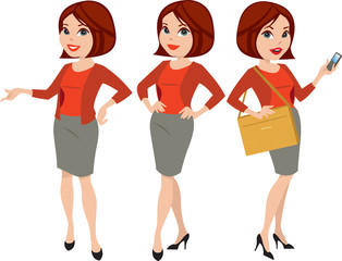 Professional woman in three poses with different facial expressions