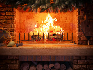 3D rendering New year interior with  fireplace in the house from a log.