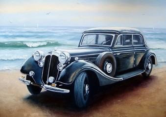 machine, sea, beach, black, wave, antiques, retro, cars, old, classic, painting, paintings, oil