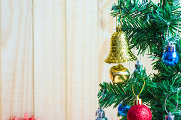 Bell and color ball on tree christmas