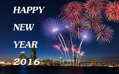 happy new year 2016,Seoul City,South Korea.