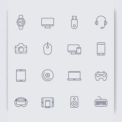 Modern gadgets thin line icons, vector illustration