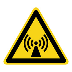 Non-ionizing radiation sign. Attention symbol of non ionized threat alert. Black hazard emblem isolated in yellow triangle on white background. Danger label. Warning icon. Stock Vector Illustration