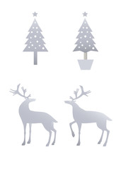 クリスマスツリーとトナカイ 銀のシルエット