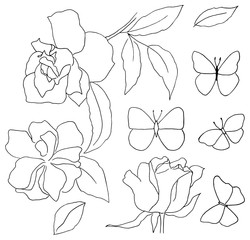 Set of vector doodles for coloring, featuring roses and butterfl