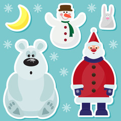 winter holidays set with cute Santa Claus,rabbit, moon and bear