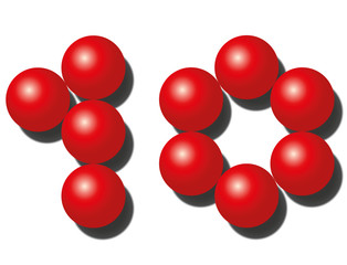 Ten red balls that look like number TEN. Isolated vector illustration on white.