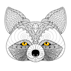 Hand drawn raccoon for coloring book for adult,tattoo, logo, shirt design and other decorations