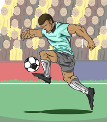 Poster Superheroes Vector illustration Soccer player kicking the ball and fan ball background