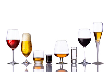 glasses of alcoholic drinks