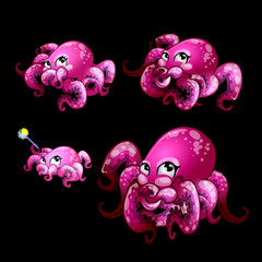 Set pink cute octopuses on a black background